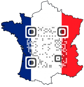 You can add an image behind the QR Code so it makes the language easier to identify.