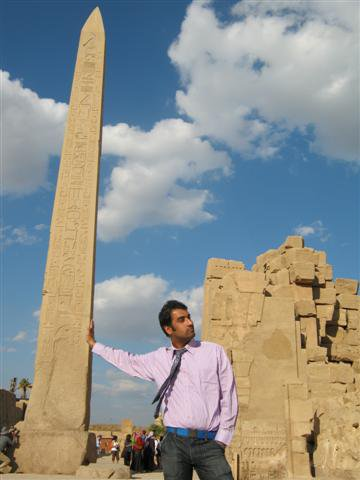 Holding on to the obelisk
