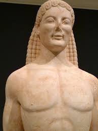 The heavily stylised kouros statue