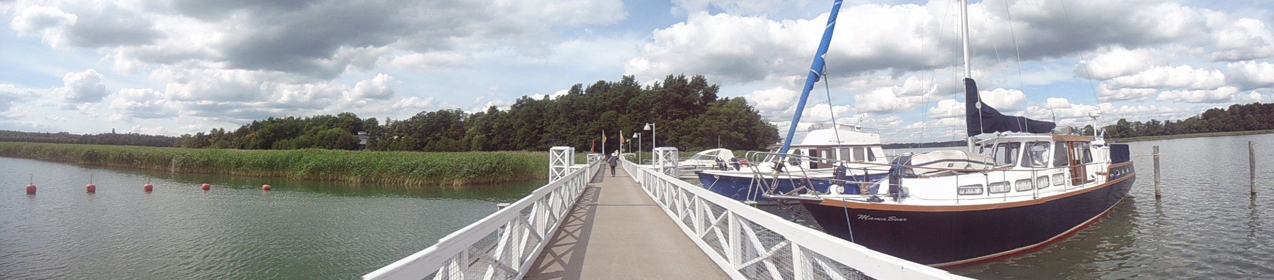 The bridge over to the island where Moomin World is situated adds to the excitement and atmosphere.