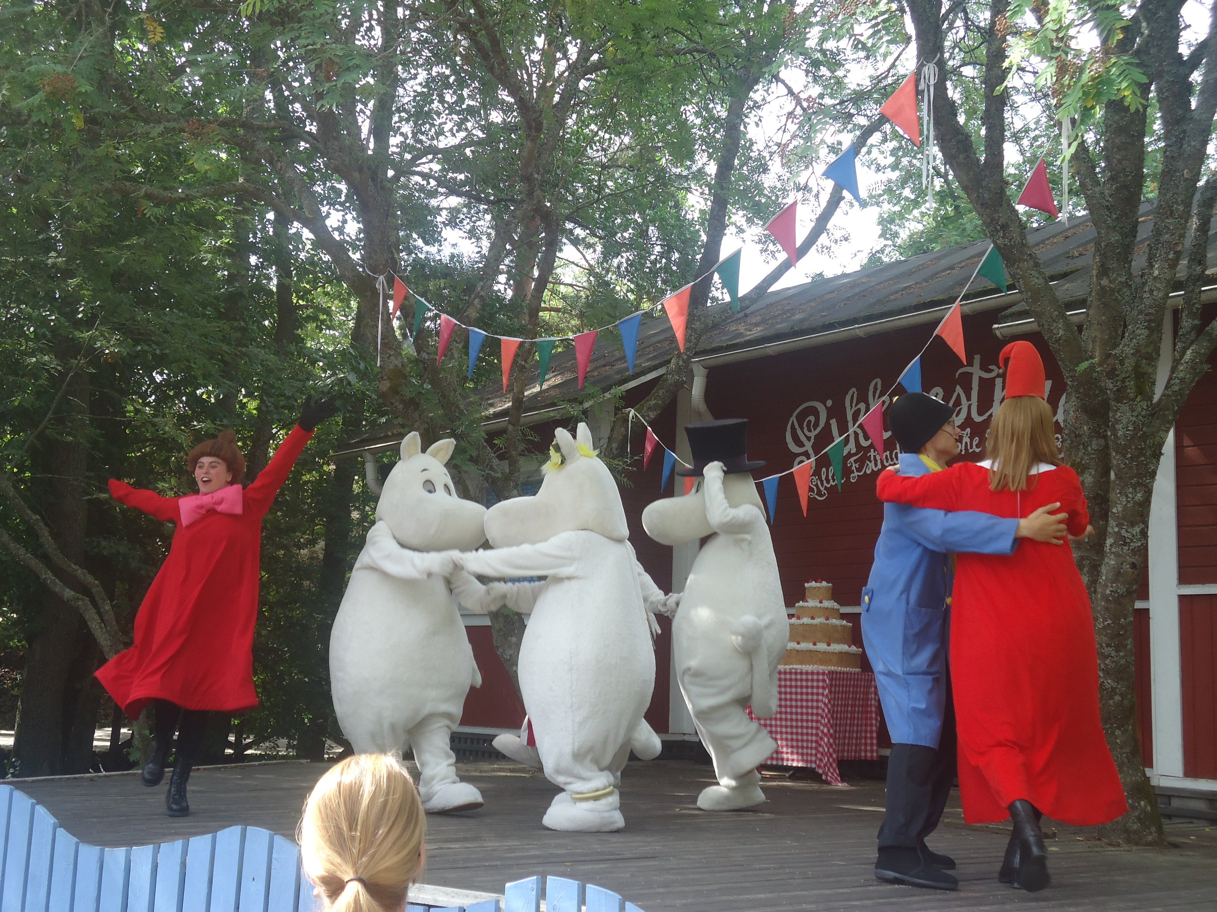 The characters from the Moomins dance away merrily and my daughter danced away too!