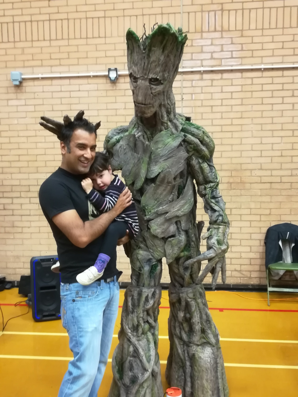 My daughter and I met Groot... she was suitably scared!