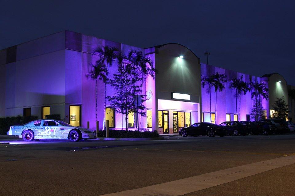 LED Source's new corporate headquarters illuminated at night.