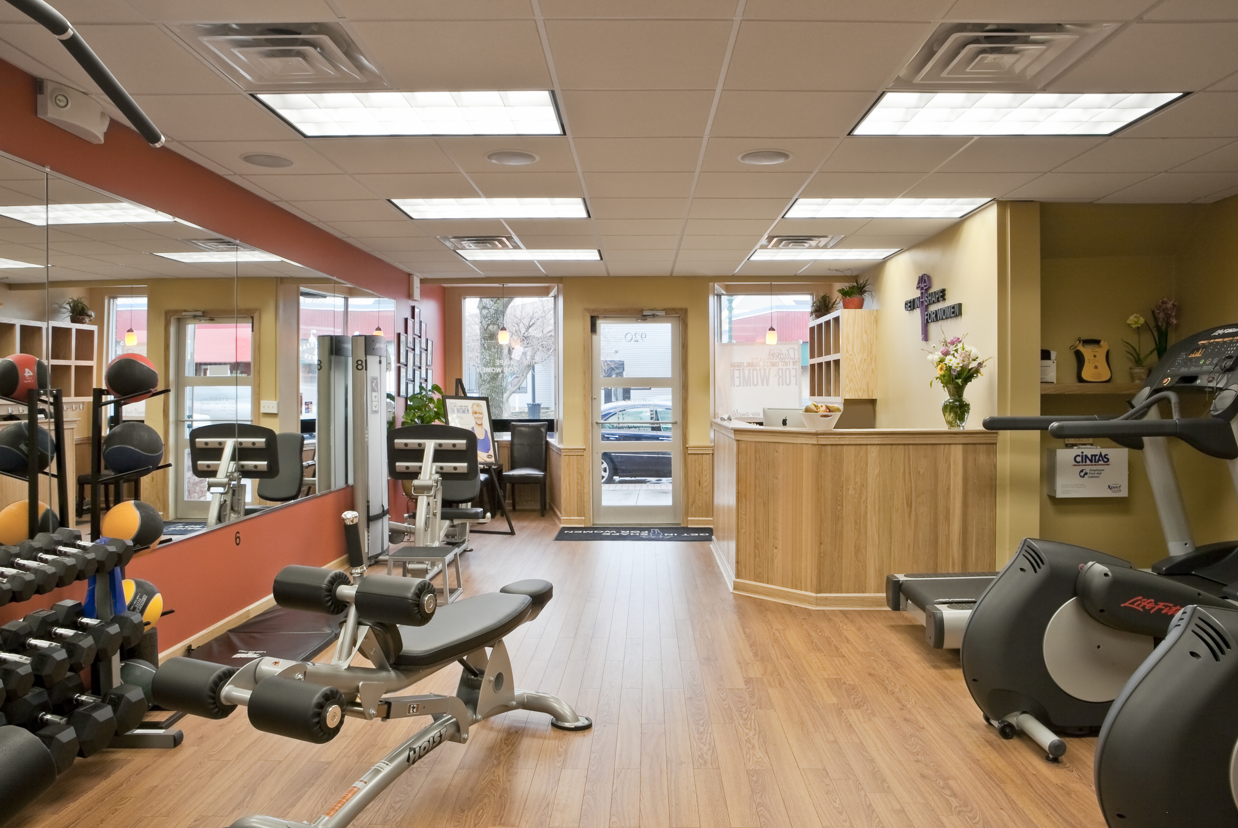 A peek inside a Get In Shape For Women studio. The national fitness franchise offers tailored personal training and nutrition consulting to women of all ages.