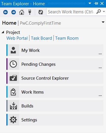 Figure: The Home hub in VS2013 Team Explorer