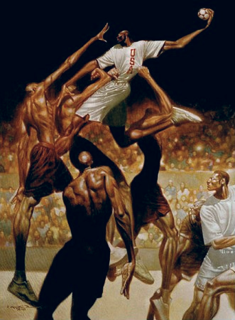 This painting was used for the 1996 USA Olympic Handball Team. In dramatic fashion, The Anatomy of Team Handball depicts the action and intensity of the lesser known sport of team handball.  Property of Kadir Nelson. All rights reserved.