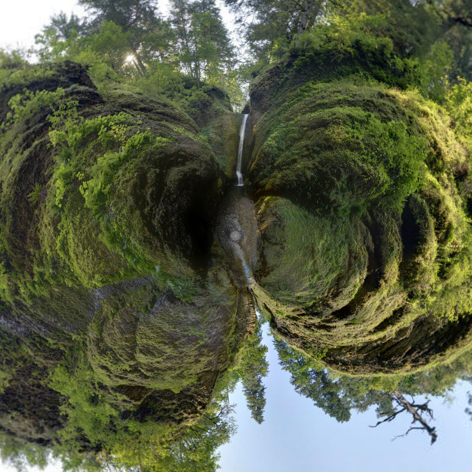 Oneonta Falls at Oneonta Gorge, Elevated 360° Sphere