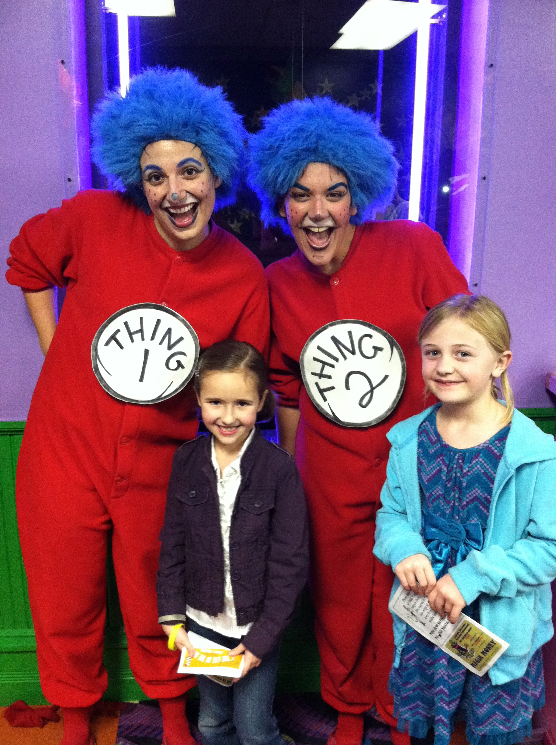 Gabi and Shelby at the Magik Theater hanging out with Thing 1 & Thing 2!
