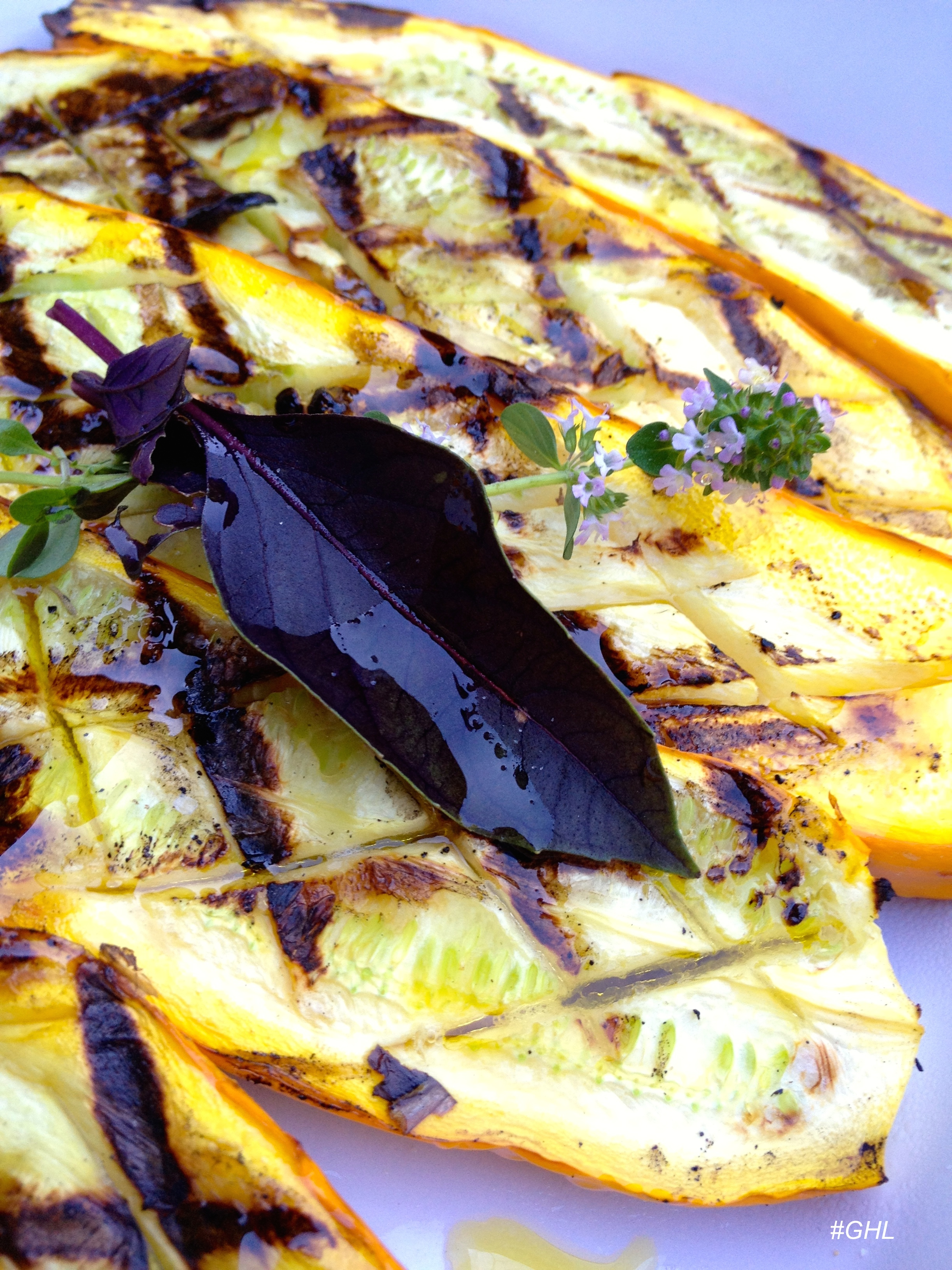 Grilled Summer Squash with Thyme and Thai Basil
