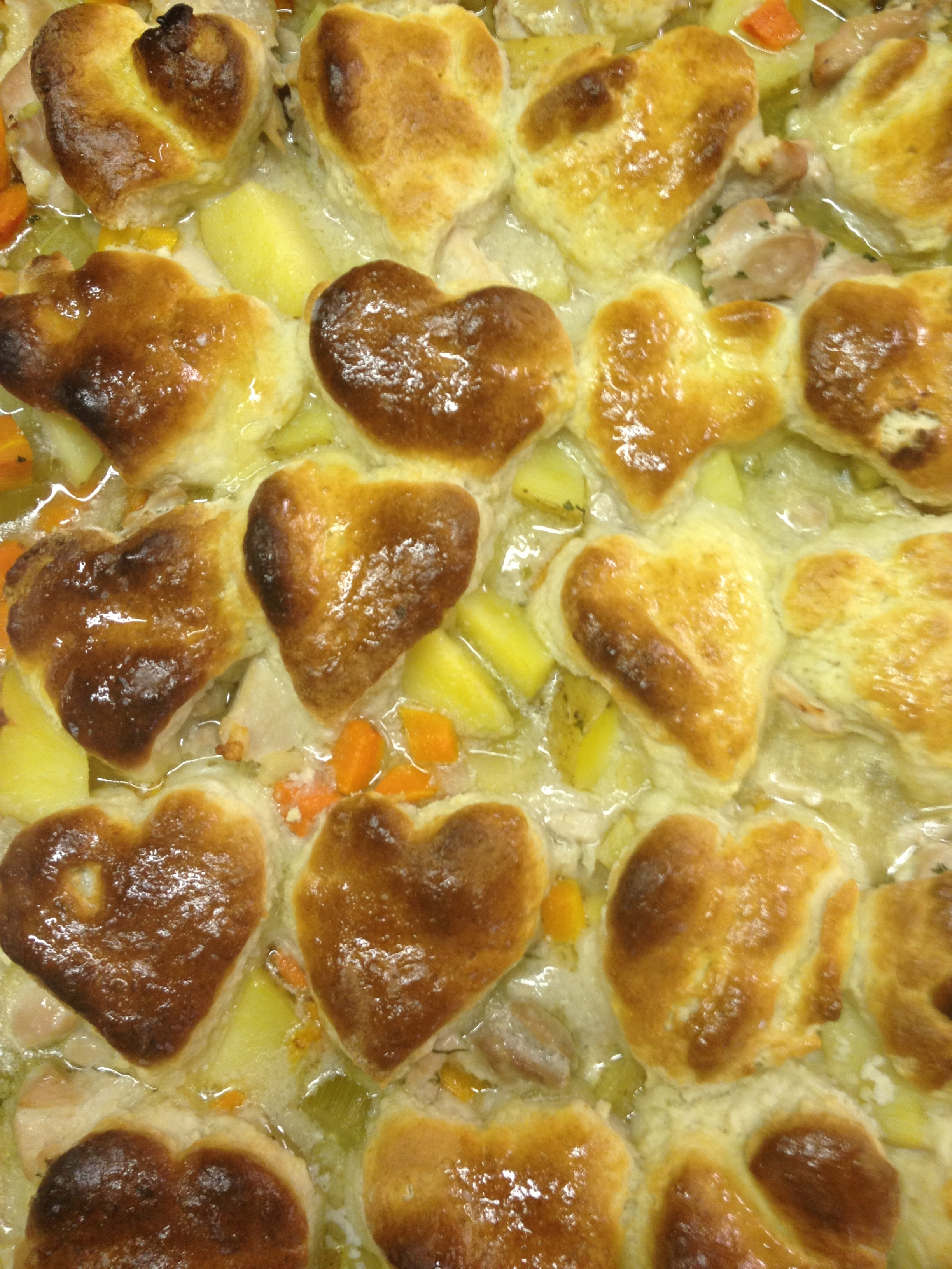 chicken pot pie with heart crust