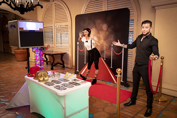 Red Carpet Booth show with Premium Backdrop and Stanton Add-Ons.