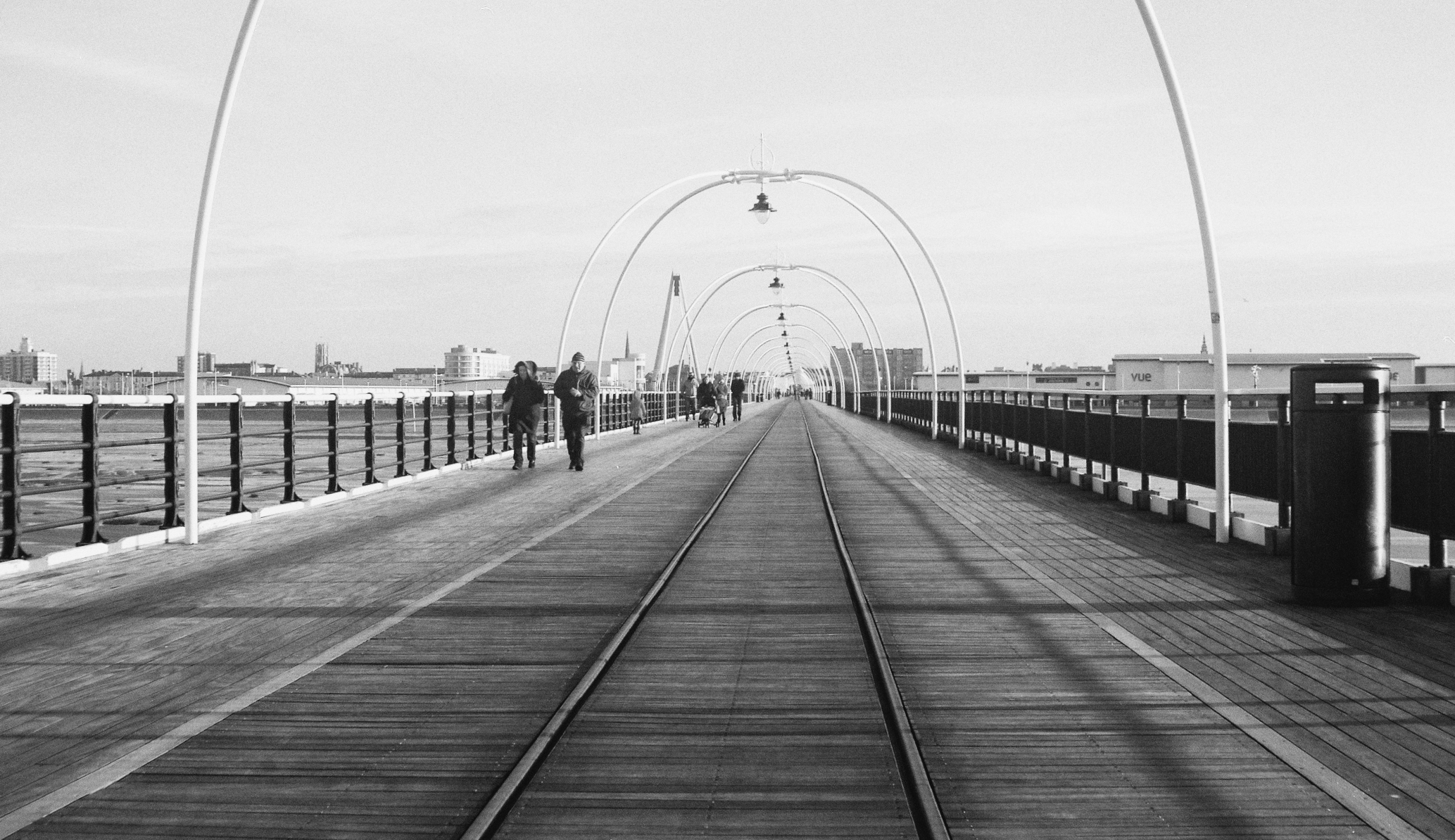 "Southport Pier taken in 2013 with a Contessa-Nettel ""Cocarette"" circa 1920. Converted to black and white."