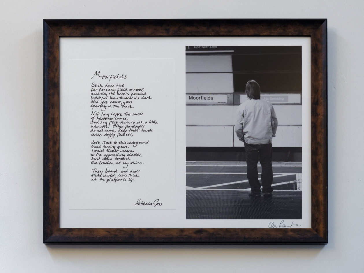 """""""Moorfields"""" by Rebecca Goss and Christopher Routledge. Original and unique artwork. Handwritten poem and photographic print signed by both artists on archival papers. Image dimensions: 225x330mm.Total dimensions including frame: 560x440mm. Available framed or unframed.   £enquire"""