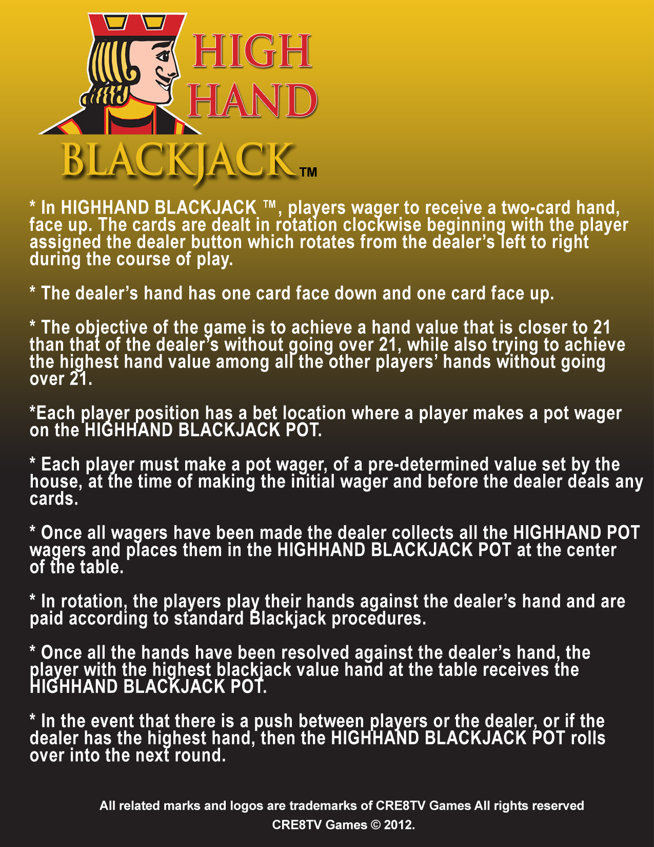 HighHand Blackjack Game Sheet