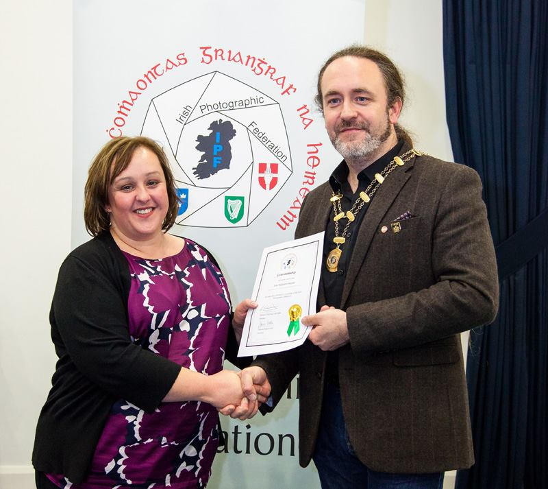 IPF President Michael O'Sullivan pictured presenting LIPF distinction to Julie McGovern-Peoples at Thurles, 28 November 2015.