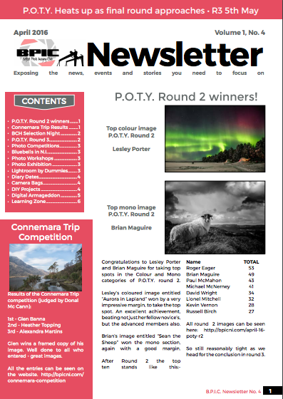 Front page of Edition 4 of the BPIC Newsletter