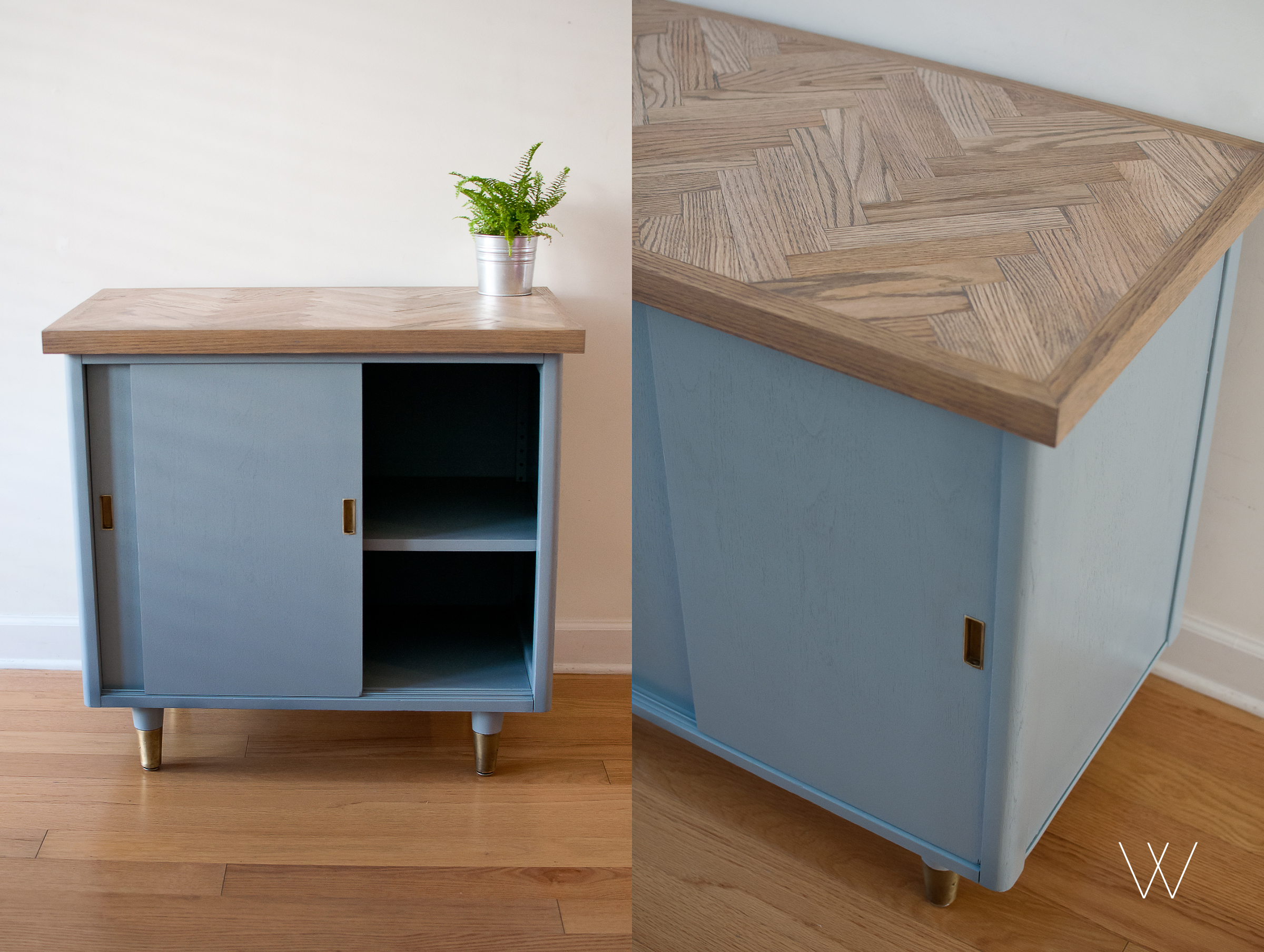 MID-CENTURY MODERN CABINET WITH CUSTOM OAK TABLE TOP.