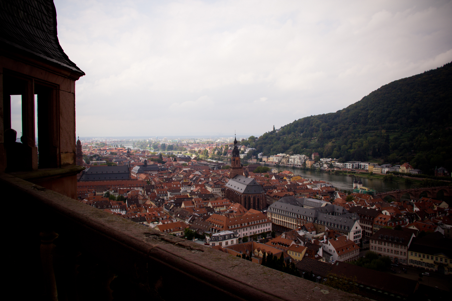 View from the castle overlooking the red rooftops