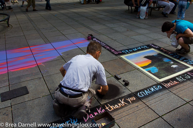 Street Chalk walkin toward the Festival