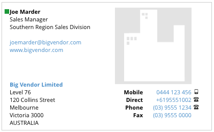 view full business card details