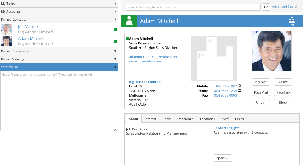 instant messaging and collaboration is available with your online contacts