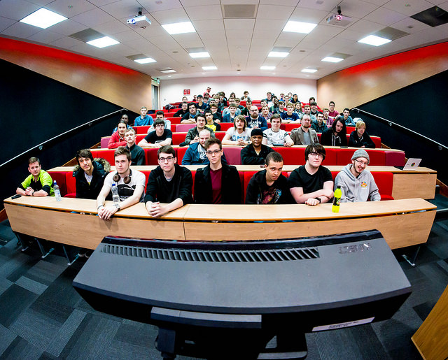 """Every now and then I take a picture I really like. This is a """"Kinect's Eye view of the audience this afternoon."""