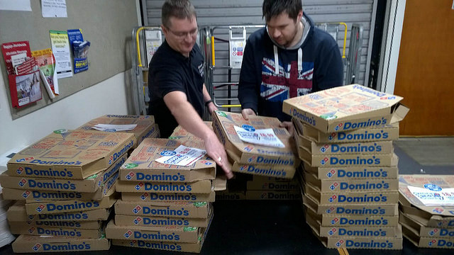 "Lee and Simon building a ""pizza fort""."