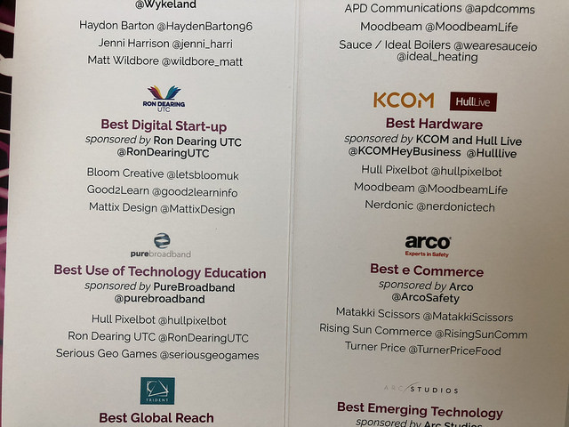 Hull Pixelbot finalist in two categories. Yay!