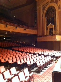 View of the Hilbert Circle Theater from my spot on stage.