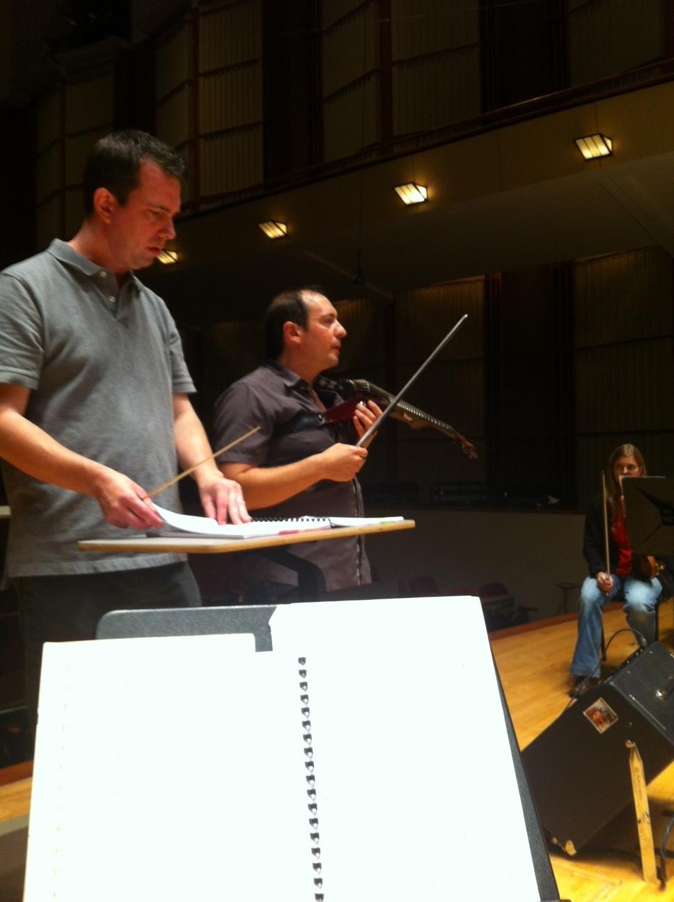 Maestro Doug Droste with soloist Joe Deninzon.