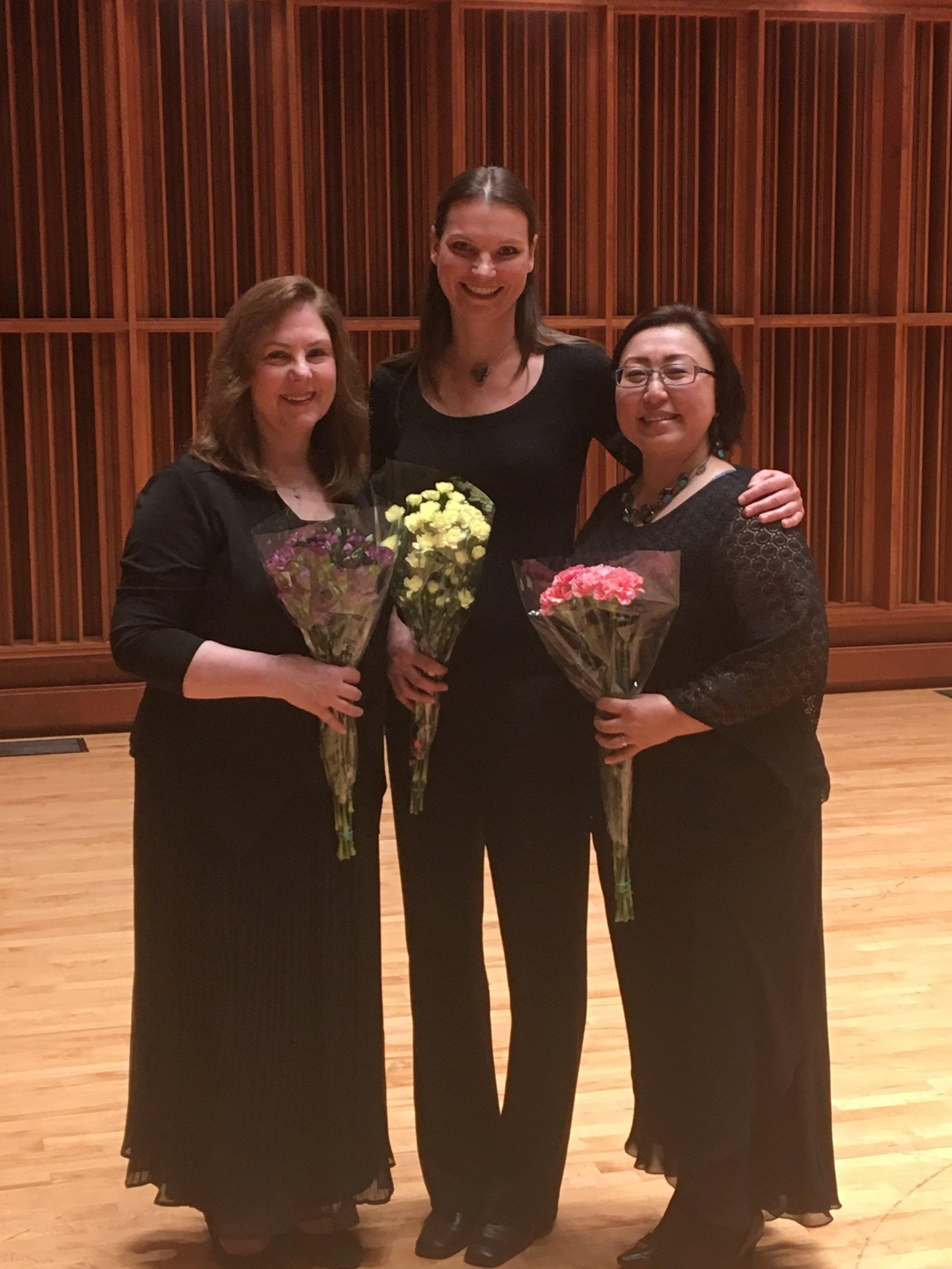 After our Hibiki Trio recital. The harp studio brought us flowers!