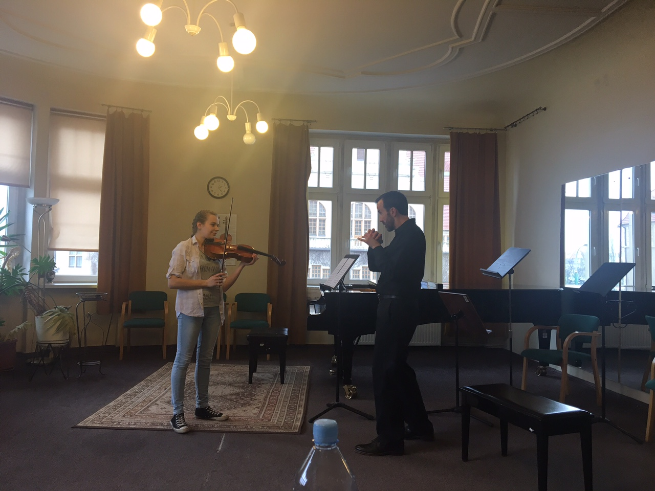 Spencer Martin teaching a fine, young Polish violst.