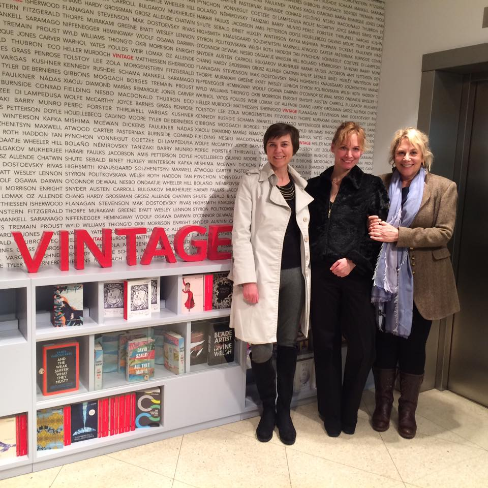 Me with Andrea Claudia Hoffmann and Christine Proske at Vintage UK meeting about THE GIRL WHO BEAT ISIS