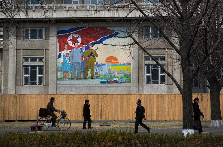 A sidewalk scene in Pyongyang, North Korea./Credit David Guttenfelder/Associated Press