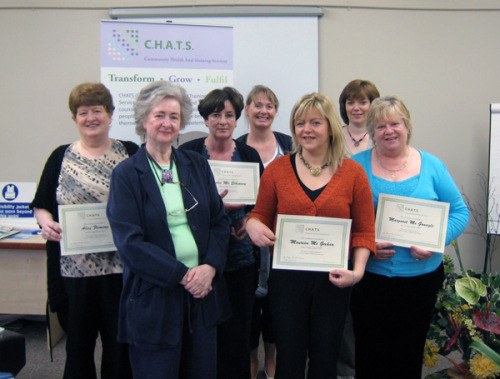 Students L-R: Alice Fleming (Adult Assessor), Dr. Helena Schlindwein (Tutor), Bridie McElhinney (Nurse and Hypnotherapist), Denise O'Boyle (Child Clinical Psychologist), Maureen McGeehan (Social Worker), Denise Gillespie (Midwife and Researcher), Margaret McGonagle (Counsellor); Receiving their CBT Graduation Certificates,