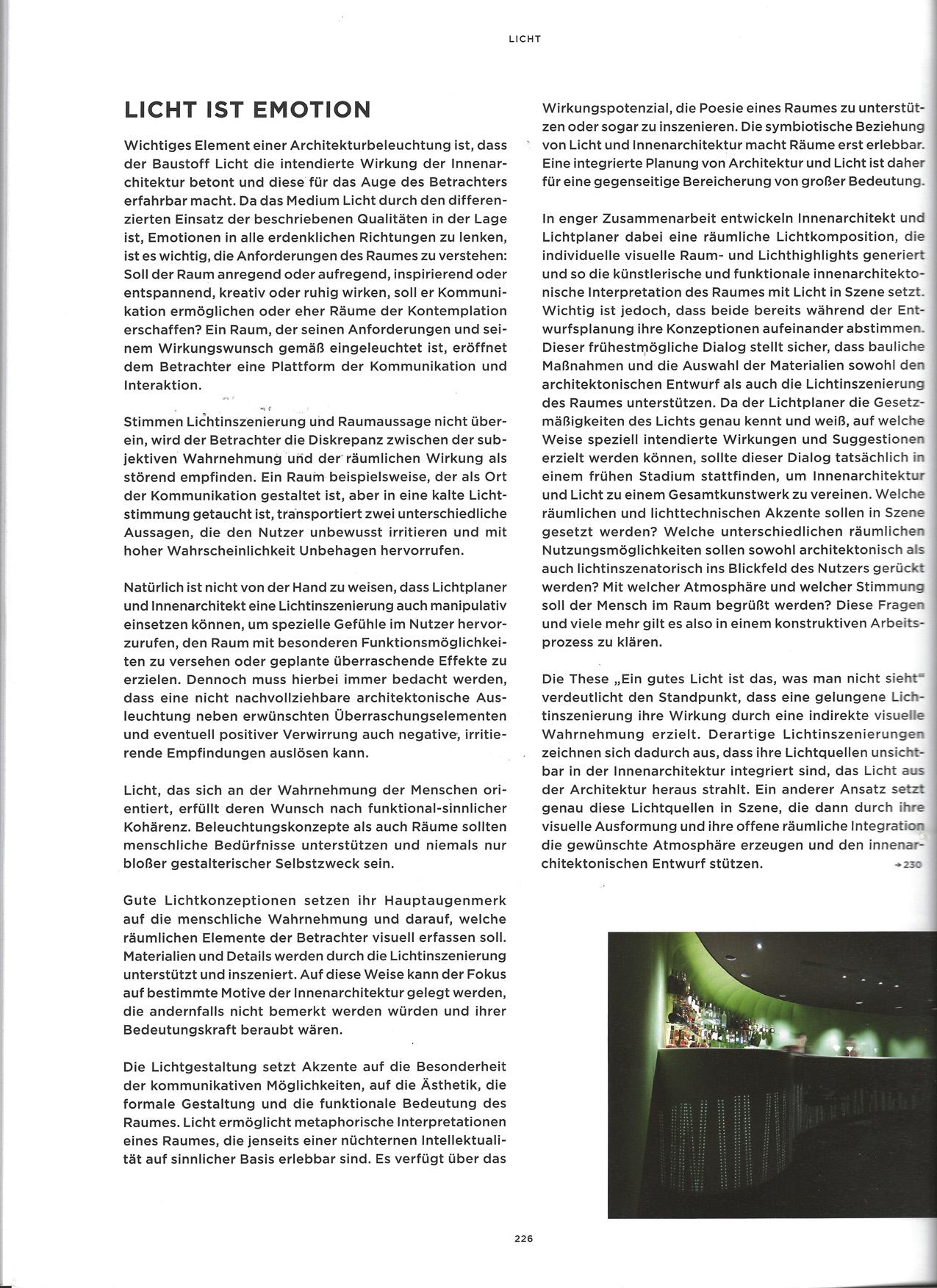 Auszug Thema Licht :  Das Buch Innenräume Entwerfen ,aus den Birkhauser Verlag