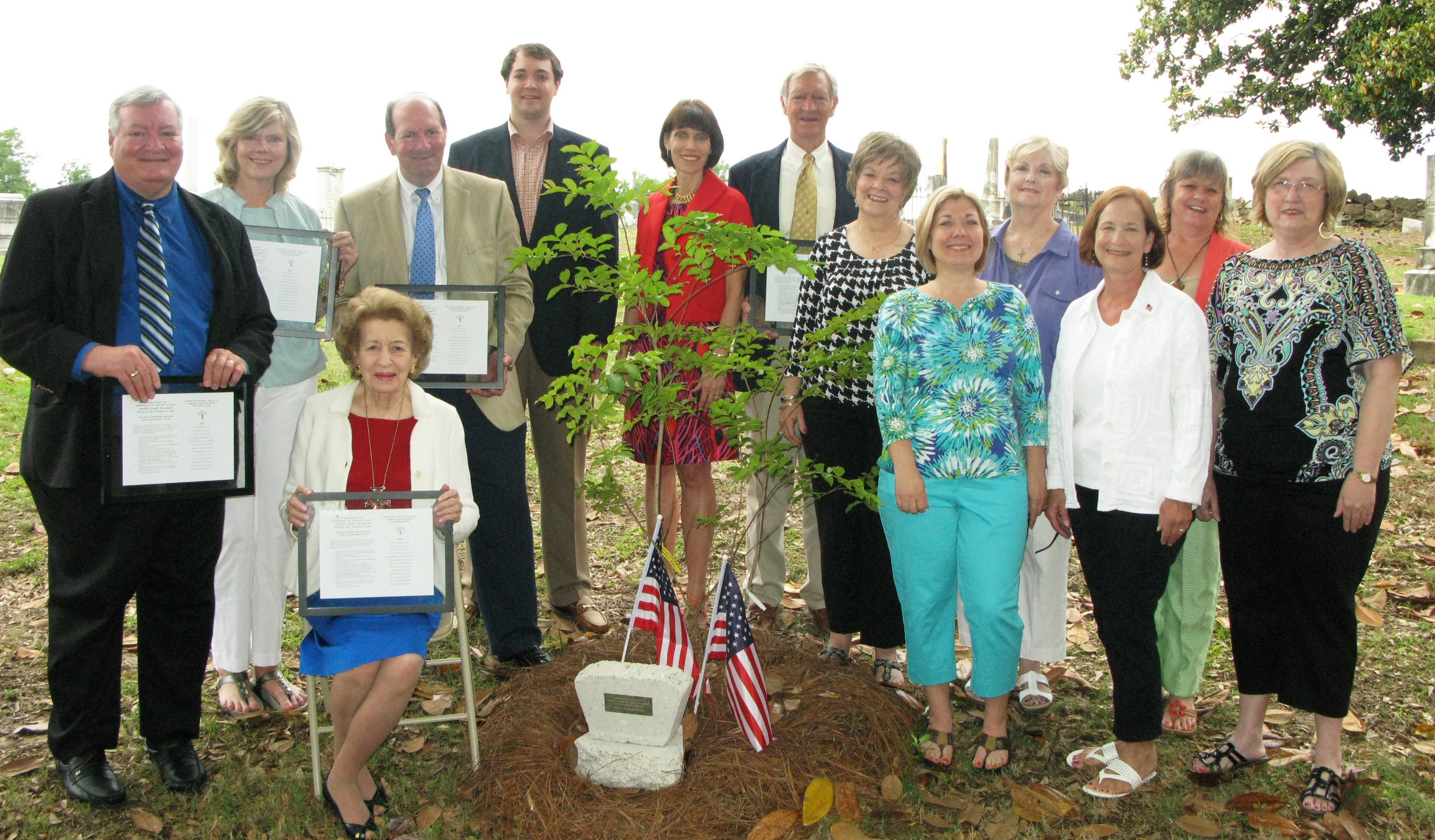 MEMORIALTREEHONORS GOVERNOR ANSELM MCLAURIN     Brandon Garden Club (BGC), The Garden Clubs of Mississippi, Inc., planted atreeand placed a plaque in Old Brandon Cemetery honoring the life, work, and service of Anselm Joseph McLaurin, Governor of Mississippi 1896 to 1900. Several of his descendants live in the Brandon area and came to the dedication service conducted by BGCMemorialTreeChairman Lynn Mahoney.  Pictured at the dedication, seated: Janet McLaurin. Standing (l to r): John McLaurin, Jr., Susan McLaurin Henslee, Anse McLaurin, Wallace McLaurin, Trudy McLaurin, Sidney McLaurin, Karen Crowe, Susan Vigh, Sharon Hoffman, BGC  Memorial    Tree  Chairman Lynn Mahoney, Martha Powell, and BGC President Dixie Vance.