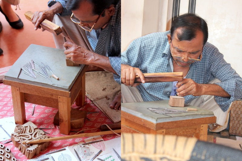 Techniques of block printing at Soma.