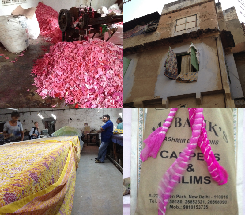 right upper: fabric used for the making of paper, upper right: windows in the Muslim area of Jaipur, bottom left: at Soma, bottom right: at the dyers.