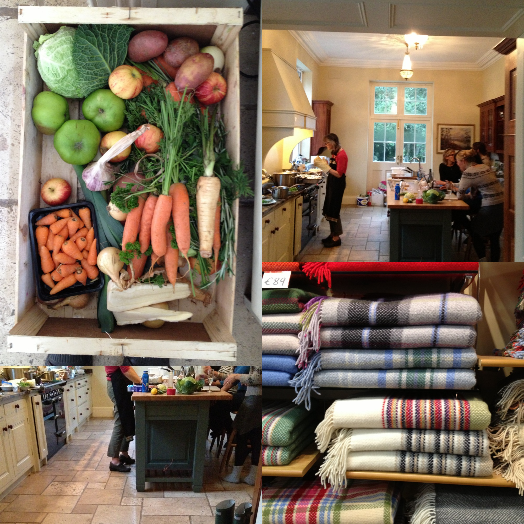 left top: food left for the animals, left bottom: Alison in the kitchen, top right: Alison cooking, bottom right: our detour to the woollen mill.