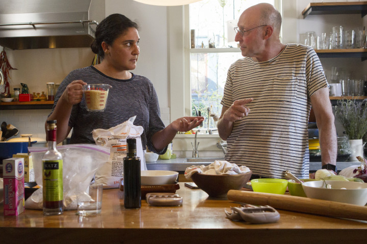 Samin Nasrat and Michael Pollan in a scene from Cooked.