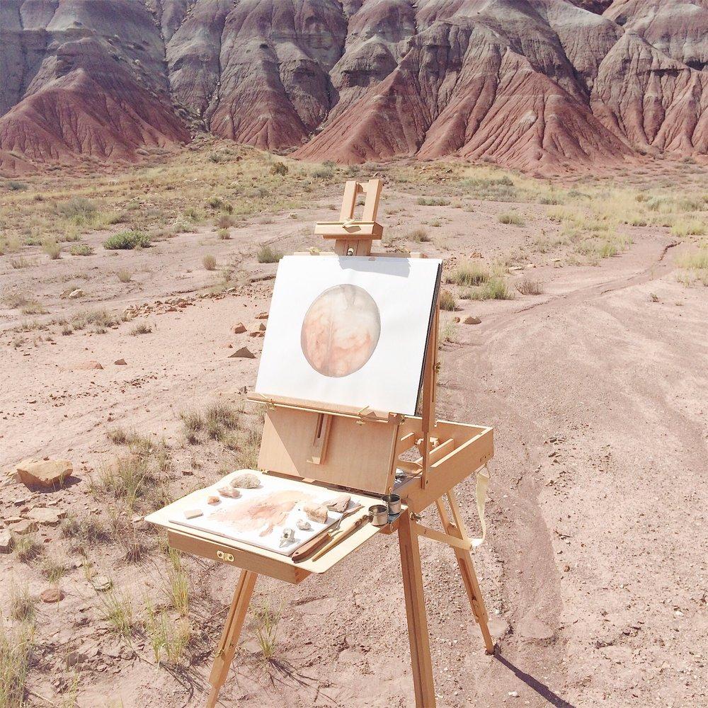 Photos:  Stella Maria Baer @stellamariabaer painting at Ghost Ranch