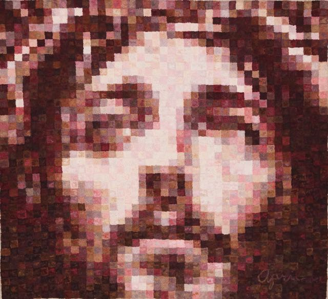 """Jesus of Nazareth 2015 . 43"""" x 39"""". #6 cut on linen. Designed, dyed and hooked by April D. DeConick. Red Jack Rugs 8-value Packs used include 159: Briar Rose, 142: Sea Shells, 120: Black Cherry, 146: Black Orchid, 124: Rose of Sharon, 148: Tanglewood, 114: Faune Brown, 118: Silver Birch, 151: Fruited Raisin, 135: Crab Apple, 112: Rowan Raspberry, 134: Pink Iris, 117: Wilde Wood, 119: Hubbard Fig."""