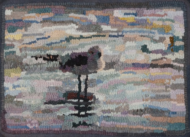 """Galveston Gull 2016. #6 cut on linen. 11"""" x 15"""". Hooked by Alexander DeGreiner. Designed and dyed by April D. DeConick."""