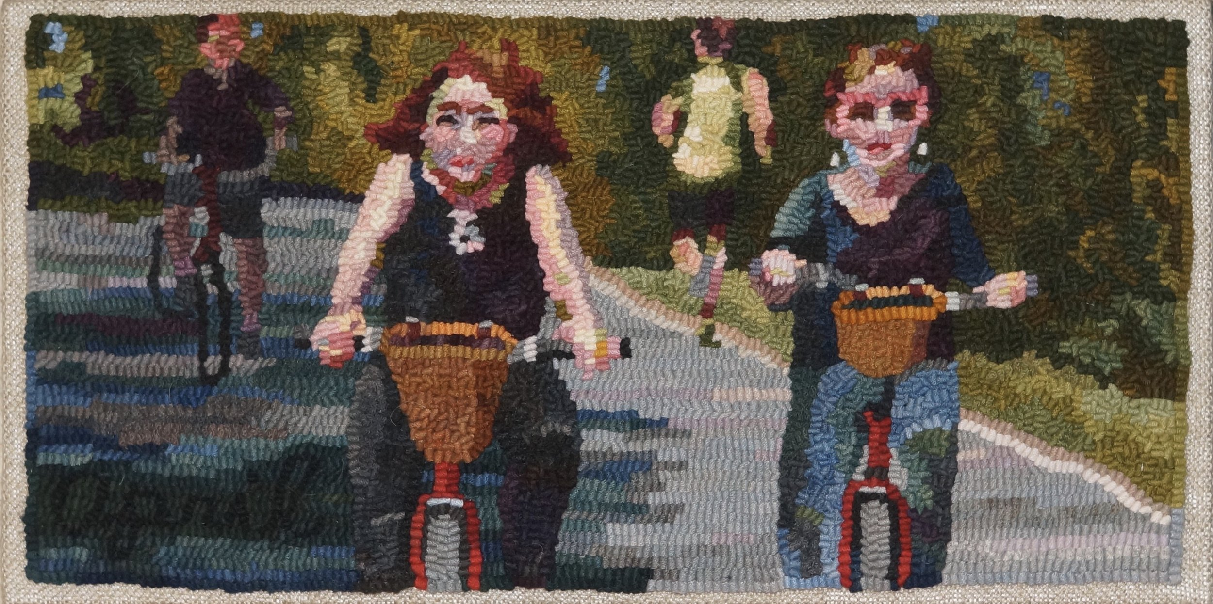 "Joy Ride, 2018. 10"" x 20"", #6-cut wool on linen.  Designed, dyed, and hooked by April. D. DeConick."