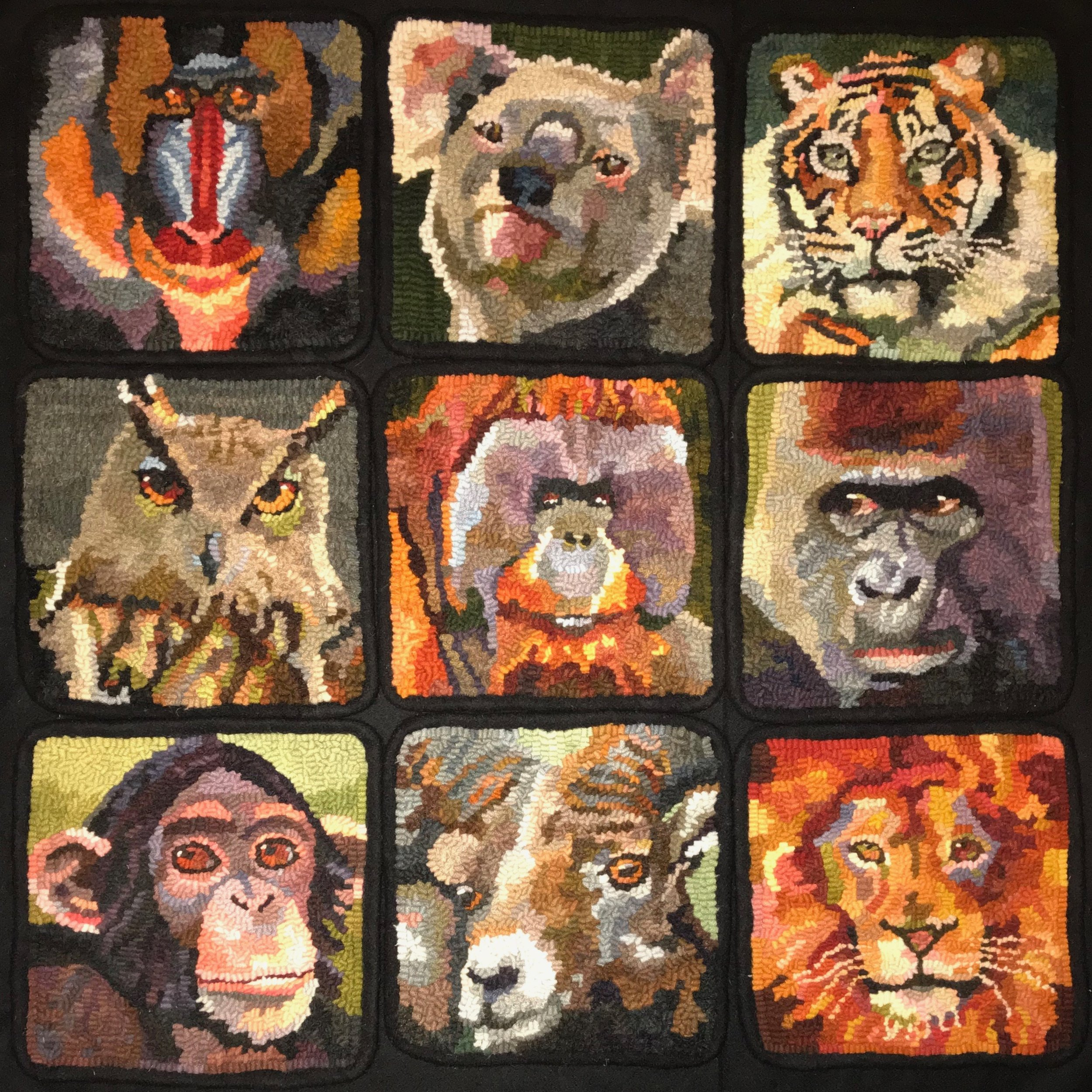 "Zoo Zone Originals 2018-19.  7"" x 7"" hooked mats on linen foundation.  Designed, dyed, and hooked by April D. DeConick"