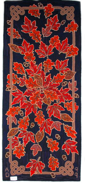 "Jack in the Red, 1999, 31"" x 72"". #6-cut on Burlap. Designed, Dyed, and Hooked by April D. Deconick"
