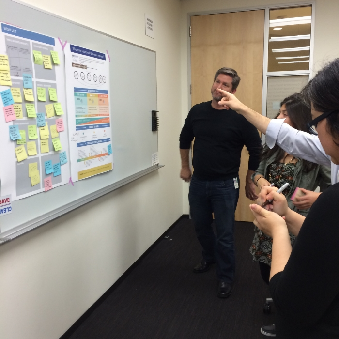 Feedback brainstorm w/ product managers and designers. Credit: Brent Davidson
