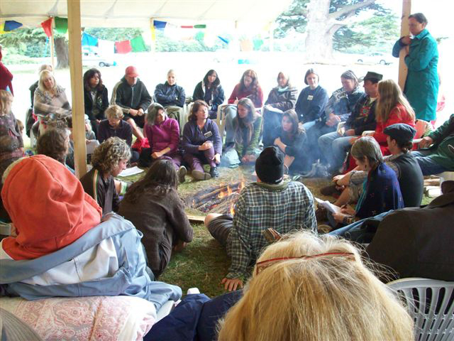 Lawrence Messerman helps groups build stronger unity and work with conflict. In addition, Lawrence offers his wisdom through teaching fires. Here, Lawrence facilitates a group in the UK.