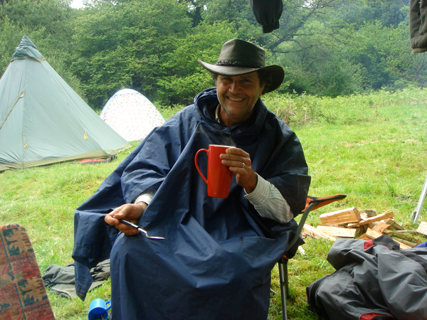 We caught Lawrence mugging while camping out at a  gathering in the UK.